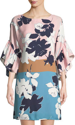Taylor 3/4-Sleeve Cascading-Sleeve Floral Shift Dress