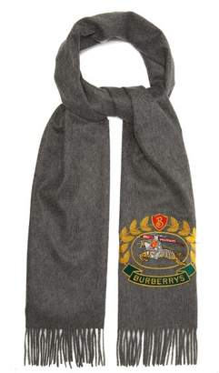 Burberry Crest Embroidered Cashmere Scarf - Mens - Grey