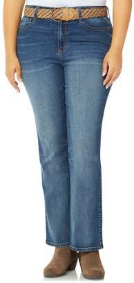 34bde157f6ce1 Juniors' Plus Size Wallflower Mid-Rise Belted Bootcut Jeans