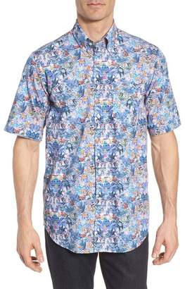 Paul & Shark Regular Fit Tropical Print Sport Shirt