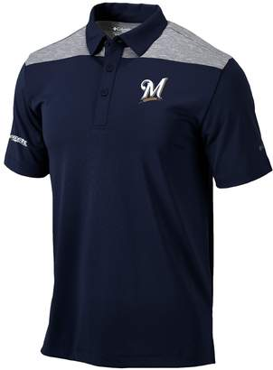 Columbia Unbranded Men's Navy Milwaukee Brewers Utility Omni-Shade Polo