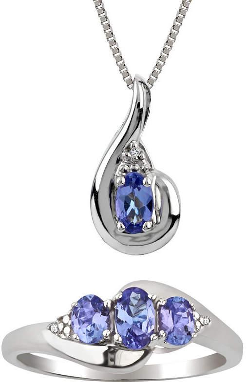 FINE JEWELRY Womens 2-pack Diamond Accent Purple Tanzanite Sterling Silver Jewelry Set