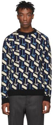 Prada Black and Navy Intarsia Sweater