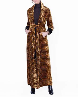 Akris Checkered Velvet Devore Robe Coat with Shimmer Trim