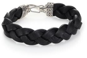 John Hardy Classic Chain Sterling Silver & Leather Braided Hook Bracelet