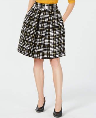 Maison Jules Plaid Pleated A-Line Skirt