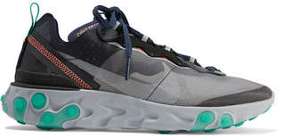 Nike React Element 87 Microsuede-trimmed Ripstop Sneakers - Gray