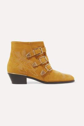 Chloé Susanna Studded Suede Ankle Boots - Tan