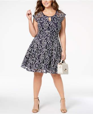 City Studios Trendy Plus Size Illusion-Sleeve Lace Dress