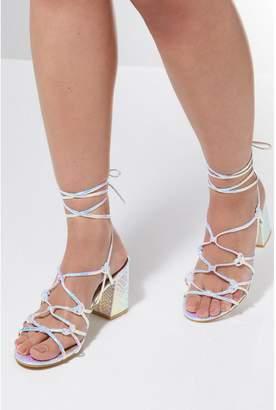 Quiz Iridescent Snake Print Lace Up Heeled Sandals