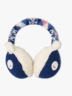 John Lewis & Partners Children's Owl Earmuffs, Navy