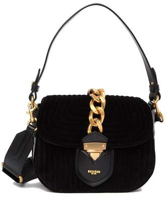 ... Moschino Quilted Velvet Shoulder Bag b5994985bd556