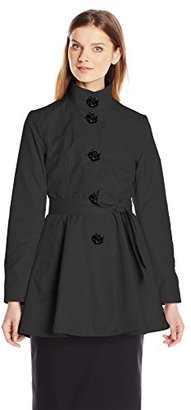 Betsey Johnson Women's Skirted Trench Coat with Rose Buttons $180 thestylecure.com