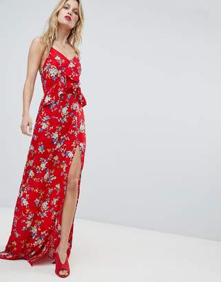 PrettyLittleThing Floral Side Split Maxi Dress