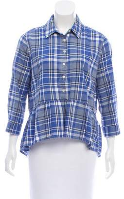Trovata Birds of Paradis by Button-Up Plaid Top