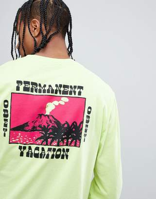 Obey pigment dyed long sleeve t-shirt with vacation print in yellow