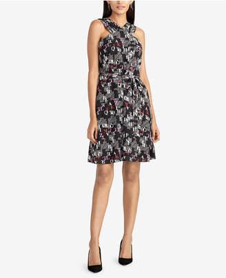 Rachel Roy Text-Print Tie-Waist Dress