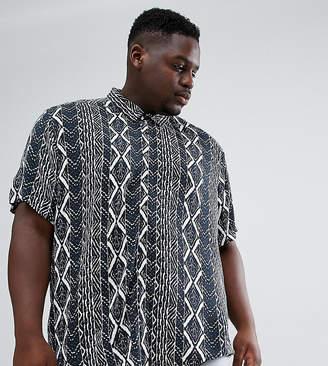 Jacamo revere collar shirt in geo-tribal print