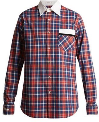 Blouse - Stevie Point Collar Cotton Tartan Shirt - Womens - Red Navy