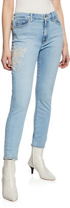 7 For All Mankind Jen7 by Ankle Skinny Floral-Embroidery Jeans
