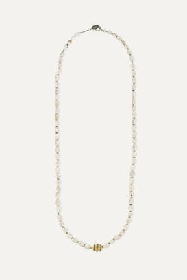Loree Rodkin Shell, 14-karat Gold And Oxidized Sterling Silver Diamond Necklace