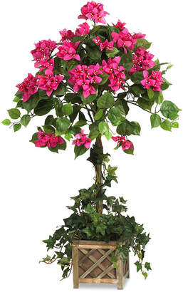 Bougainvillea Nearly Natural Artificial Topiary with Wood Planter
