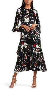 Erdem Women's Florence Floral Silk Midi-Dress - Black Multi