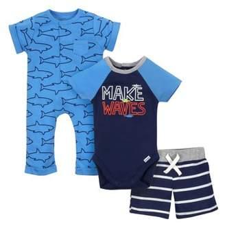Gerber Newborn Baby Boy Coverall, Bodysuit & Pants, 3pc Set