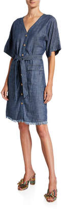 Trina Turk Lanai Button-Front Short-Sleeve Belted Denim Dress