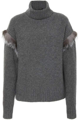 Sally LaPointe M'O Exclusive Touch Of Fur Cashmere Sweater