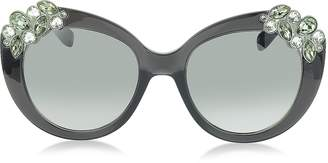 Jimmy Choo MEGAN/S 1VDIC Dark Grey Oversized Sunglasses w/Jewelled Clusters