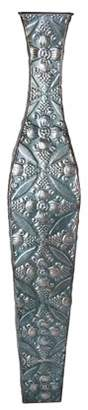 Element 34 Inch By 5.75 Inch Blue Embossed Metal Tapestry Vase