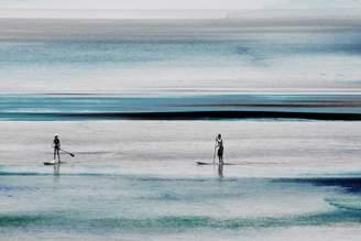 Parvez Taj Surfboard Paddling in Blue Waters Canvas Wall Art