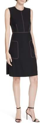 Diane von Furstenberg Tedi Topstitch Detail Stretch Wool Dress