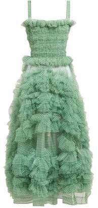 Molly Goddard Flo Gingham Organza Ruffle Midi Dress - Womens - Green
