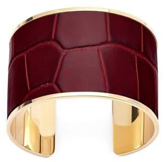 Aspinal of London Cleopatra Cuff Bracelet In Deep Shine Bordeaux Croc