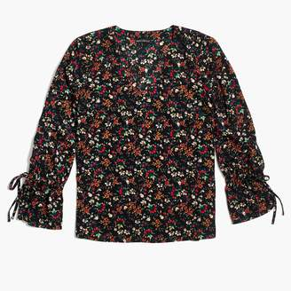 J.Crew Factory Printed bow-sleeve top
