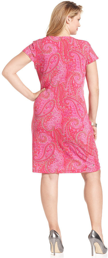 Jones New York Signature Plus Size Dress, Cap-Sleeve Printed Faux Wrap