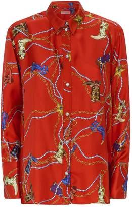 Sandro Printed Silk Twill Blouse