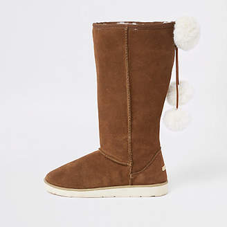 River Island Light brown suede faux fur pom pom boots