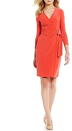 Anne KleinAnne Klein Matte Jersey Wrap Tie Front Wrap Dress