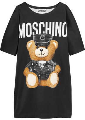 Moschino - Oversized Printed Jersey T-shirt Dress - Black $1,195 thestylecure.com