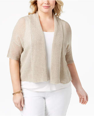 Eileen Fisher Plus Size Organic Linen Knit Short-Sleeve Cardigan
