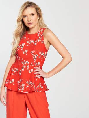 Vero Moda Lala Sleeveless Midi Top With Asymmetrical Hem - Poppy Red