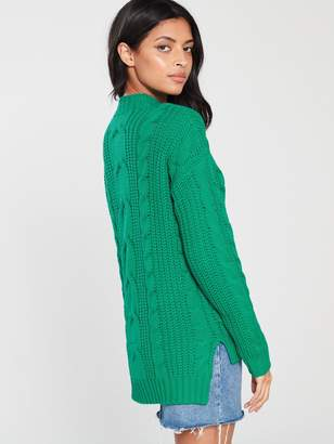Very Volume Sleeve Cable Knit Jumper - Green