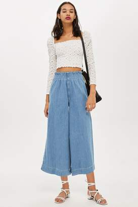 Topshop Bleach Shirred Waist Jeans