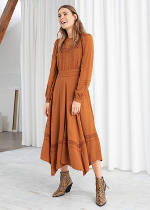 And other stories Long Sleeve Lace Trim Midi Dress