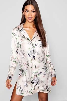 boohoo Floral Long Sleeve Button Through