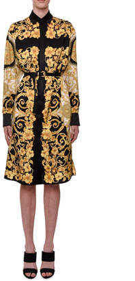 Versace Long-Sleeve Hibiscus-Print Shirtdress