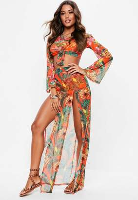 Missguided Orange Mesh Floral Side Split Maxi Skirt